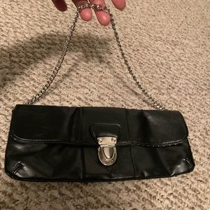 Small black clutch with strap